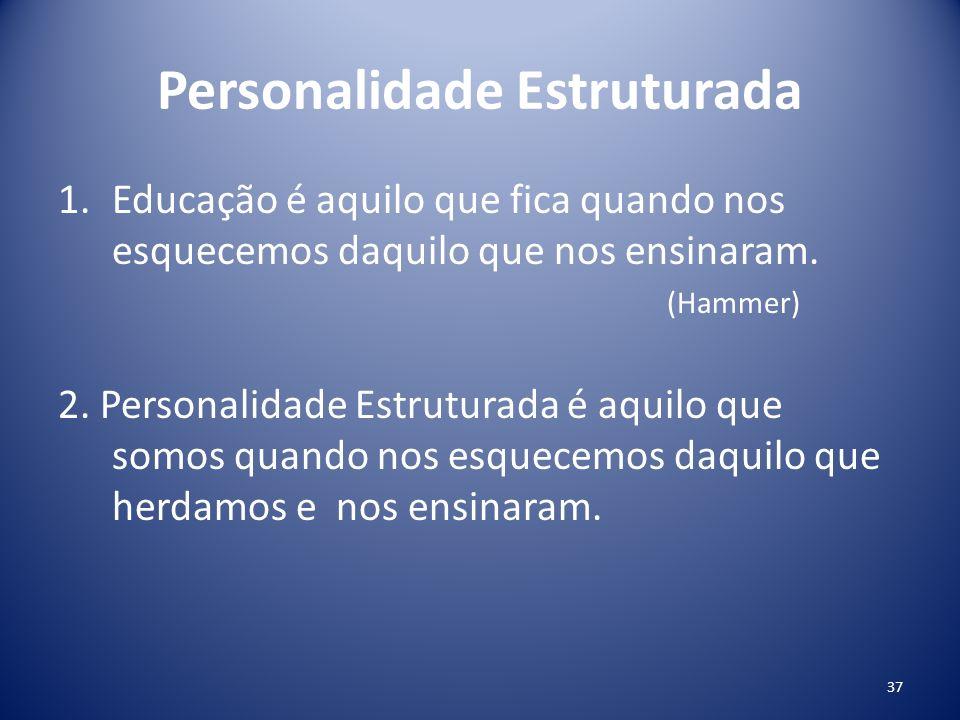 Personalidade Estruturada 1.Educação é aquilo que fica quando nos esquecemos daquilo que nos ensinaram. (Hammer) 2. Personalidade Estruturada é aquilo
