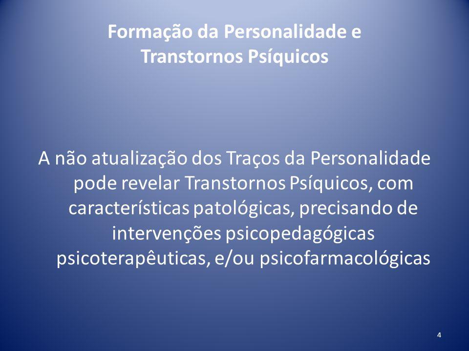 Formação da Personalidade e Transtornos Psíquicos A não atualização dos Traços da Personalidade pode revelar Transtornos Psíquicos, com característica