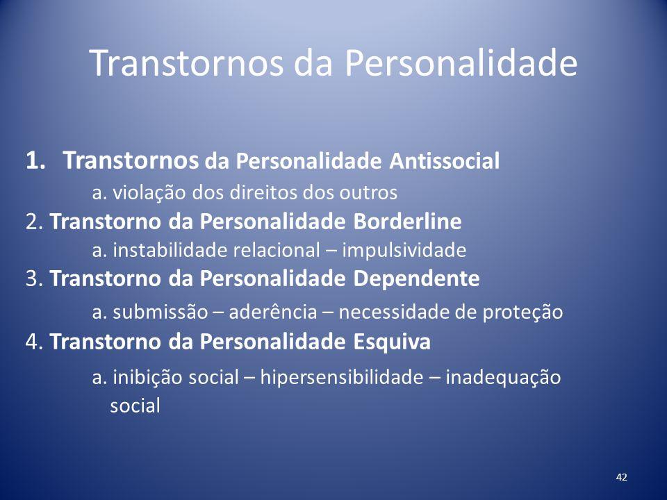 Transtornos da Personalidade 1.Transtornos da Personalidade Antissocial a. violação dos direitos dos outros 2. Transtorno da Personalidade Borderline