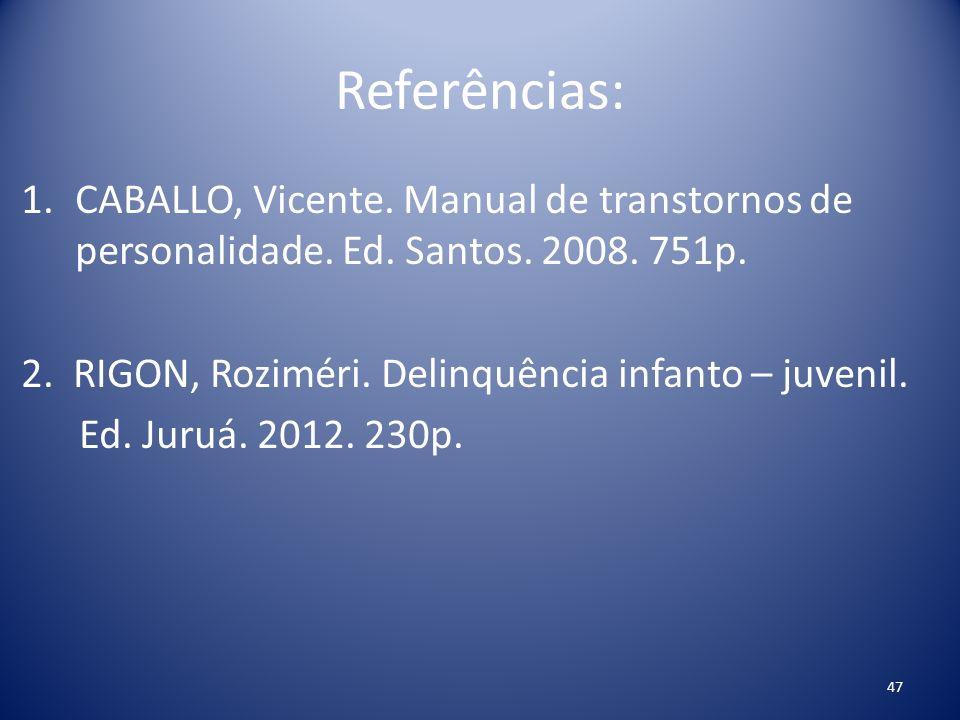 Referências: 1.CABALLO, Vicente. Manual de transtornos de personalidade. Ed. Santos. 2008. 751p. 2. RIGON, Roziméri. Delinquência infanto – juvenil. E