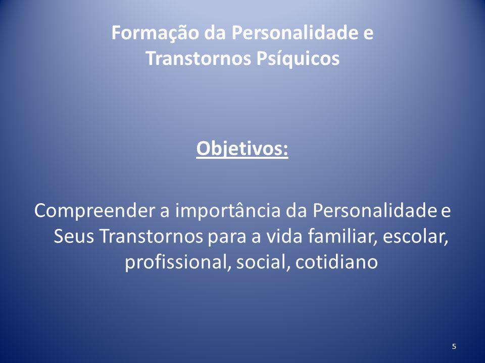 Formação da Personalidade e Transtornos Psíquicos Objetivos: Compreender a importância da Personalidade e Seus Transtornos para a vida familiar, escol
