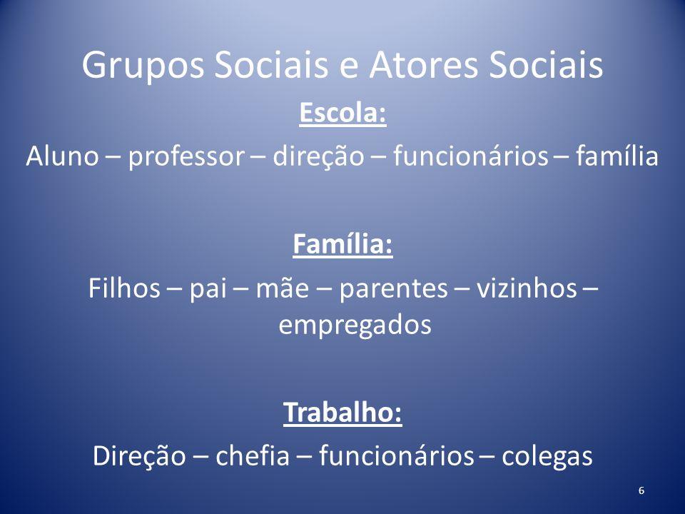 Grupos Sociais e Atores Sociais Escola: Aluno – professor – direção – funcionários – família Família: Filhos – pai – mãe – parentes – vizinhos – empre