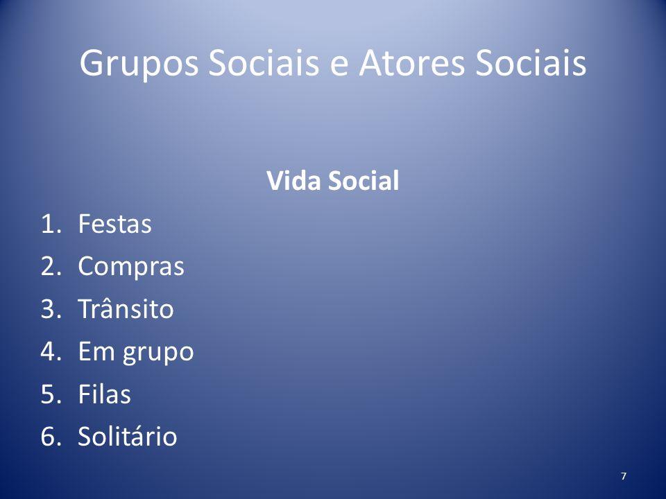 Grupos Sociais e Atores Sociais Vida Social 7.Reuniões de trabalho 8.