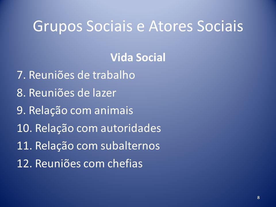 Grupos Sociais e Atores Sociais Vida Social 7. Reuniões de trabalho 8. Reuniões de lazer 9. Relação com animais 10. Relação com autoridades 11. Relaçã