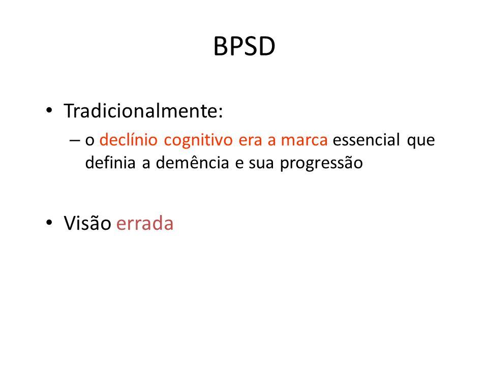 BPSD Tradicionalmente: – o declínio cognitivo era a marca essencial que definia a demência e sua progressão Visão errada