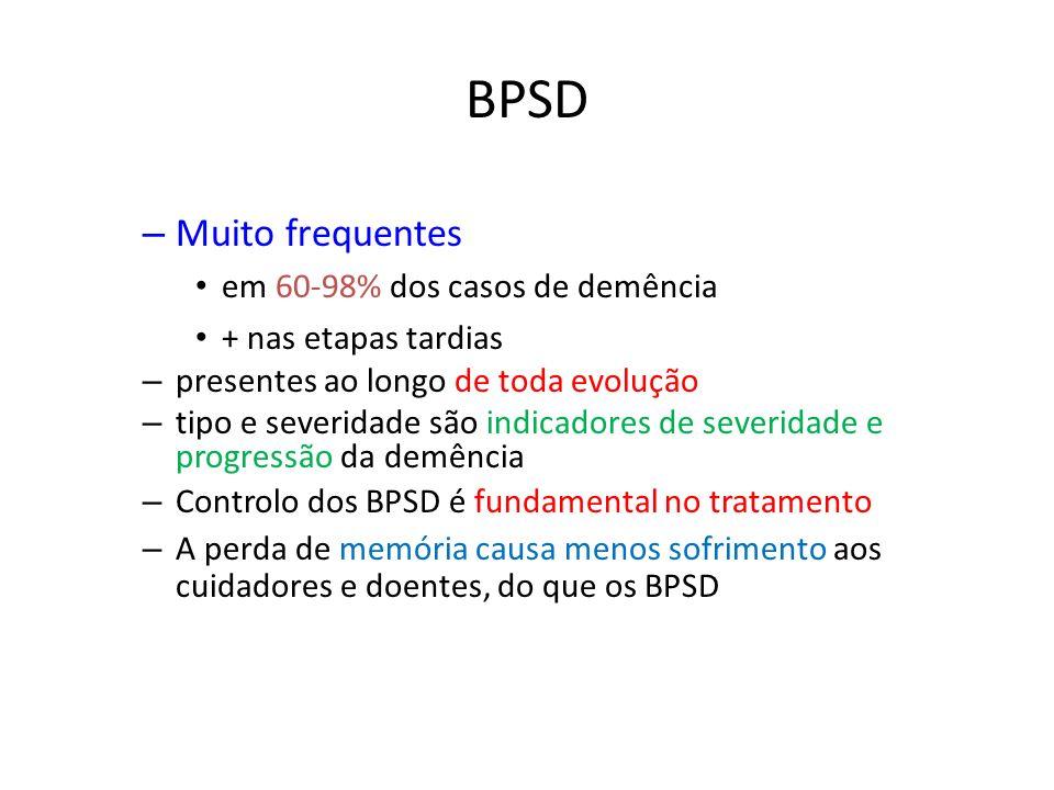 BPSD – Muito frequentes em 60-98% dos casos de demência + nas etapas tardias – presentes ao longo de toda evolução – tipo e severidade são indicadores