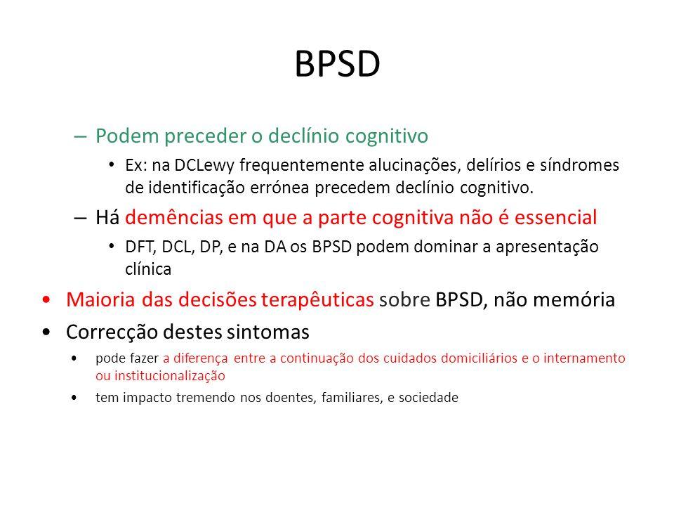 BPSD – Podem preceder o declínio cognitivo Ex: na DCLewy frequentemente alucinações, delírios e síndromes de identificação errónea precedem declínio c
