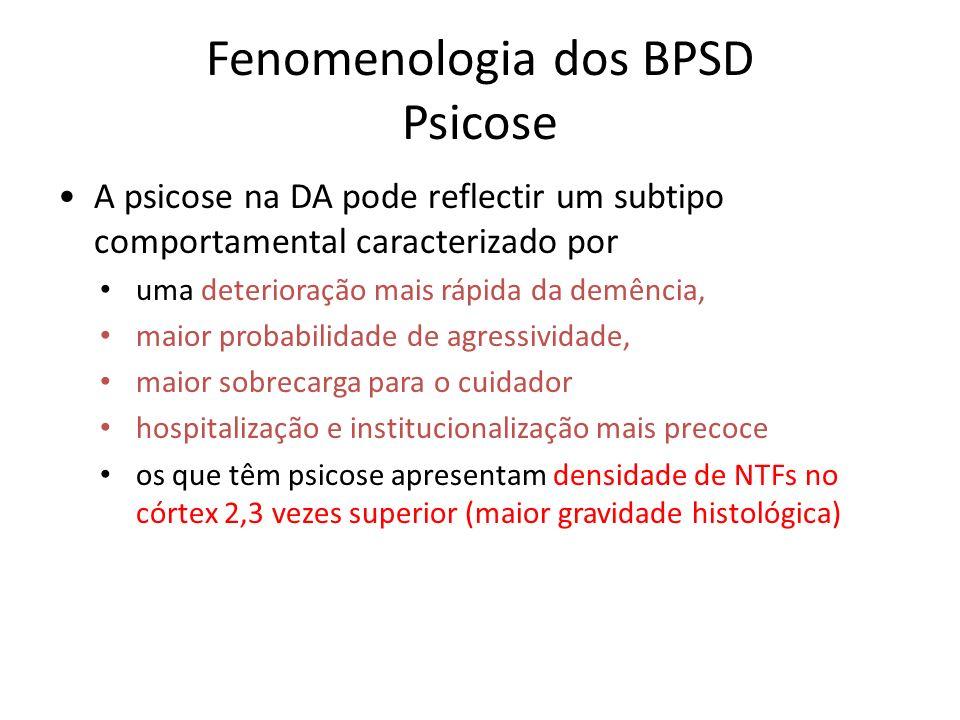 Fenomenologia dos BPSD Psicose A psicose na DA pode reflectir um subtipo comportamental caracterizado por uma deterioração mais rápida da demência, ma