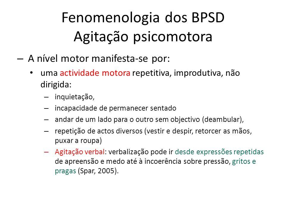 Fenomenologia dos BPSD Agitação psicomotora – A nível motor manifesta-se por: uma actividade motora repetitiva, improdutiva, não dirigida: – inquietaç
