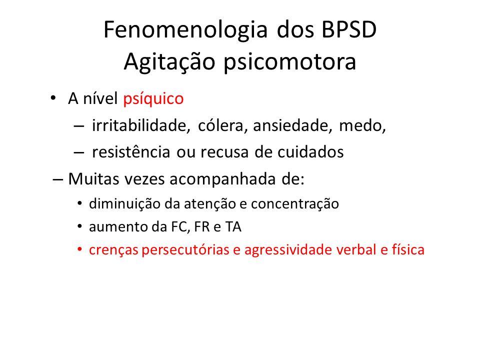 Fenomenologia dos BPSD Agitação psicomotora A nível psíquico – irritabilidade, cólera, ansiedade, medo, – resistência ou recusa de cuidados – Muitas v