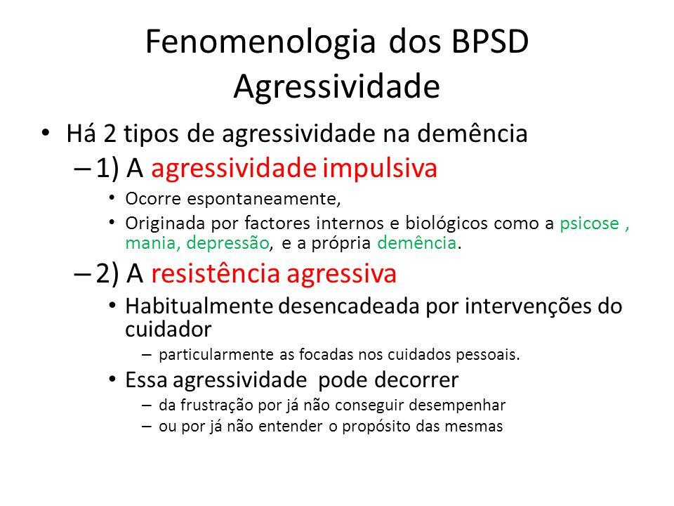 Fenomenologia dos BPSD Agressividade Há 2 tipos de agressividade na demência – 1) A agressividade impulsiva Ocorre espontaneamente, Originada por fact