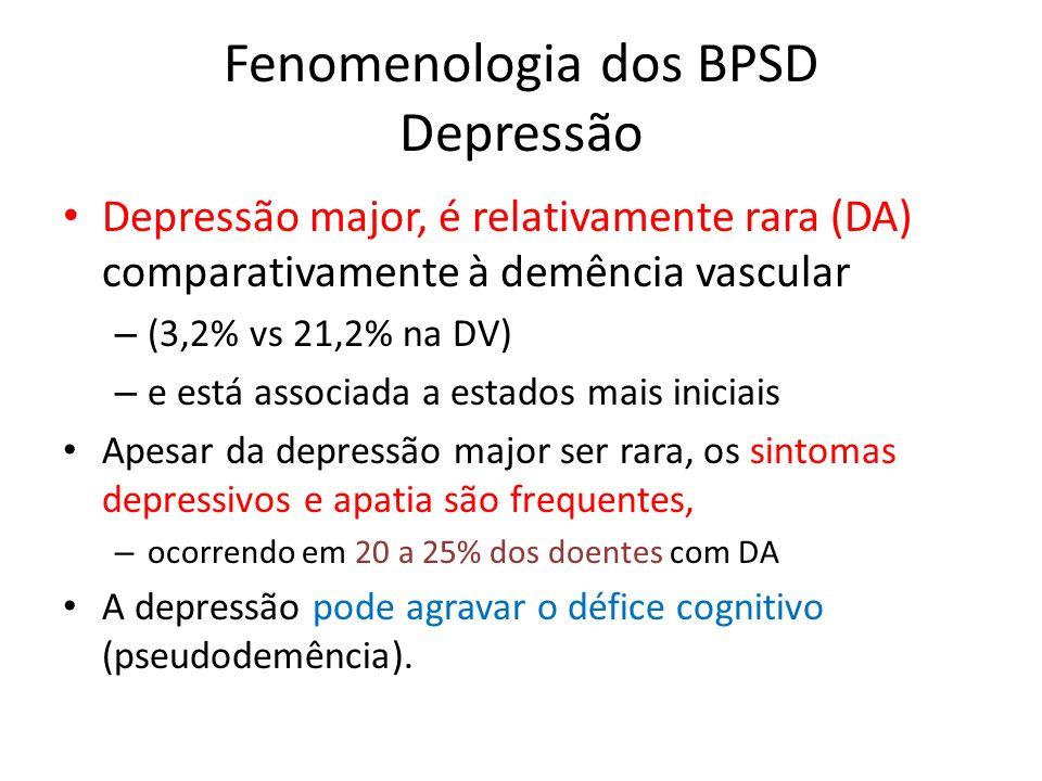 Fenomenologia dos BPSD Depressão Depressão major, é relativamente rara (DA) comparativamente à demência vascular – (3,2% vs 21,2% na DV) – e está asso