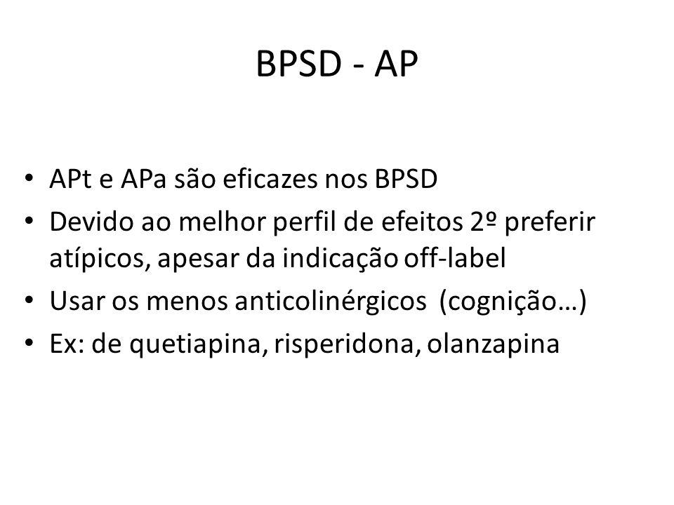 BPSD - AP APt e APa são eficazes nos BPSD Devido ao melhor perfil de efeitos 2º preferir atípicos, apesar da indicação off-label Usar os menos anticol