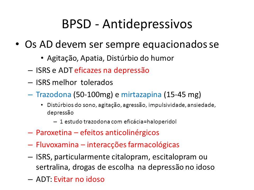 BPSD - Antidepressivos Os AD devem ser sempre equacionados se Agitação, Apatia, Distúrbio do humor – ISRS e ADT eficazes na depressão – ISRS melhor to