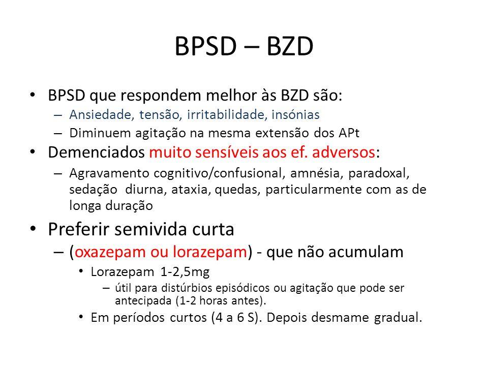 BPSD – BZD BPSD que respondem melhor às BZD são: – Ansiedade, tensão, irritabilidade, insónias – Diminuem agitação na mesma extensão dos APt Demenciad