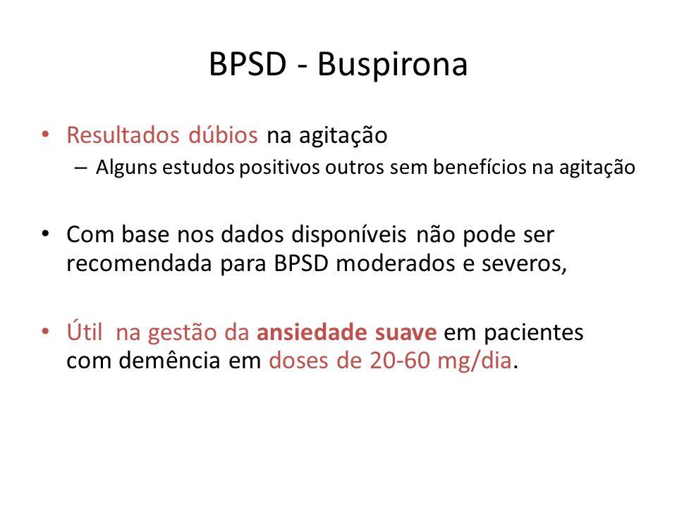 BPSD - Buspirona Resultados dúbios na agitação – Alguns estudos positivos outros sem benefícios na agitação Com base nos dados disponíveis não pode se