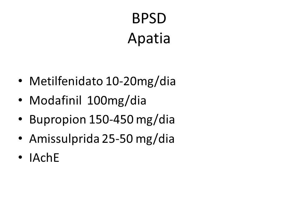 BPSD Apatia Metilfenidato 10-20mg/dia Modafinil 100mg/dia Bupropion 150-450 mg/dia Amissulprida 25-50 mg/dia IAchE