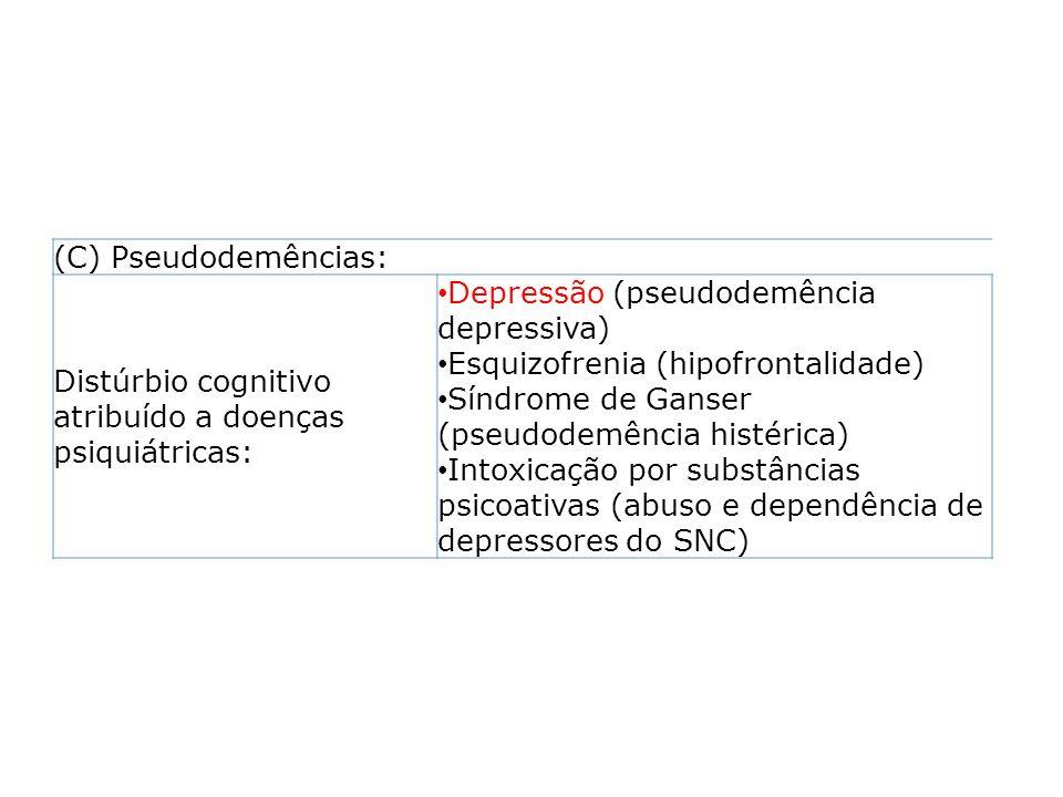 (C) Pseudodemências: Distúrbio cognitivo atribuído a doenças psiquiátricas: Depressão (pseudodemência depressiva) Esquizofrenia (hipofrontalidade) Sín