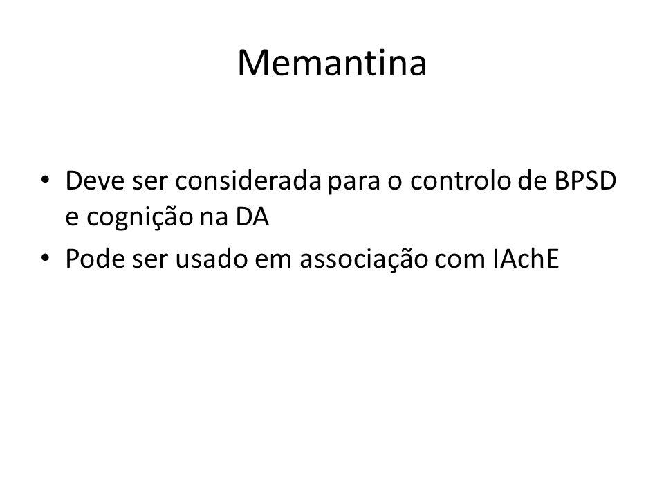 Memantina Deve ser considerada para o controlo de BPSD e cognição na DA Pode ser usado em associação com IAchE