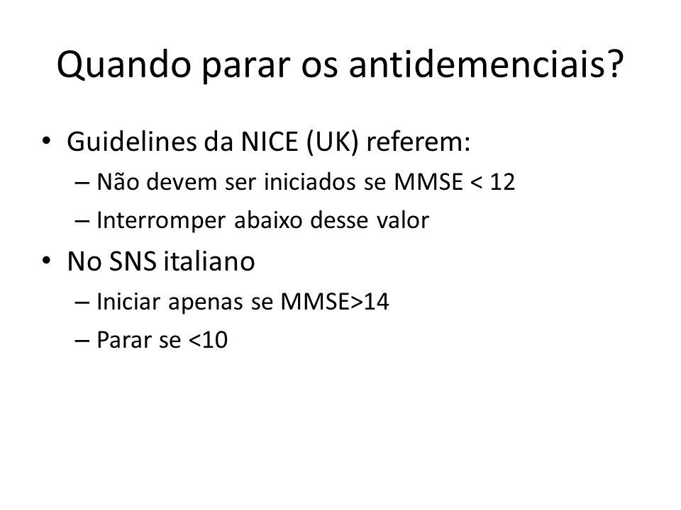 Quando parar os antidemenciais? Guidelines da NICE (UK) referem: – Não devem ser iniciados se MMSE < 12 – Interromper abaixo desse valor No SNS italia