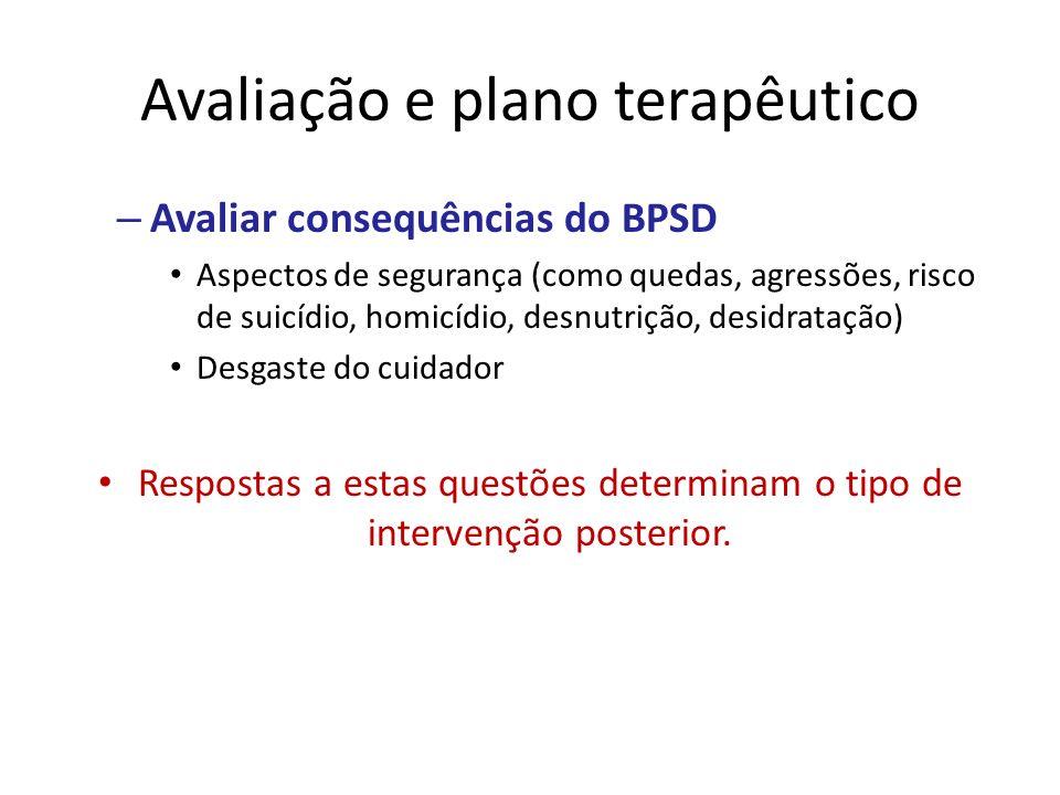 Avaliação e plano terapêutico – Avaliar consequências do BPSD Aspectos de segurança (como quedas, agressões, risco de suicídio, homicídio, desnutrição