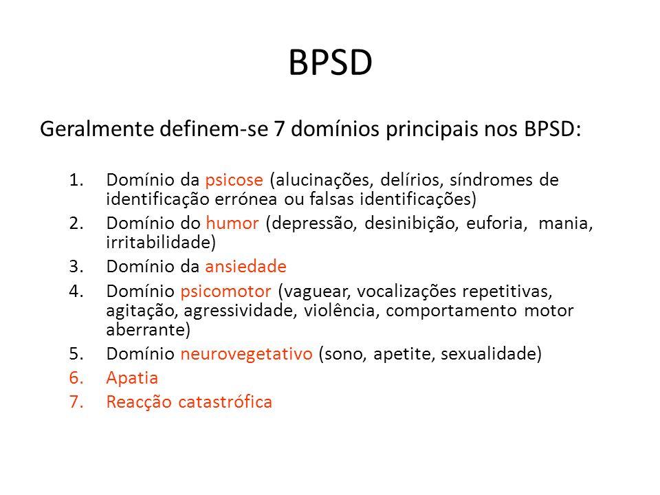 BPSD Geralmente definem-se 7 domínios principais nos BPSD: 1.Domínio da psicose (alucinações, delírios, síndromes de identificação errónea ou falsas i