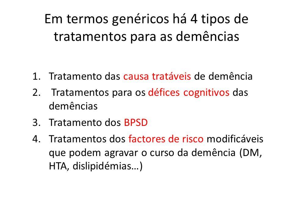 Em termos genéricos há 4 tipos de tratamentos para as demências 1.Tratamento das causa tratáveis de demência 2. Tratamentos para os défices cognitivos