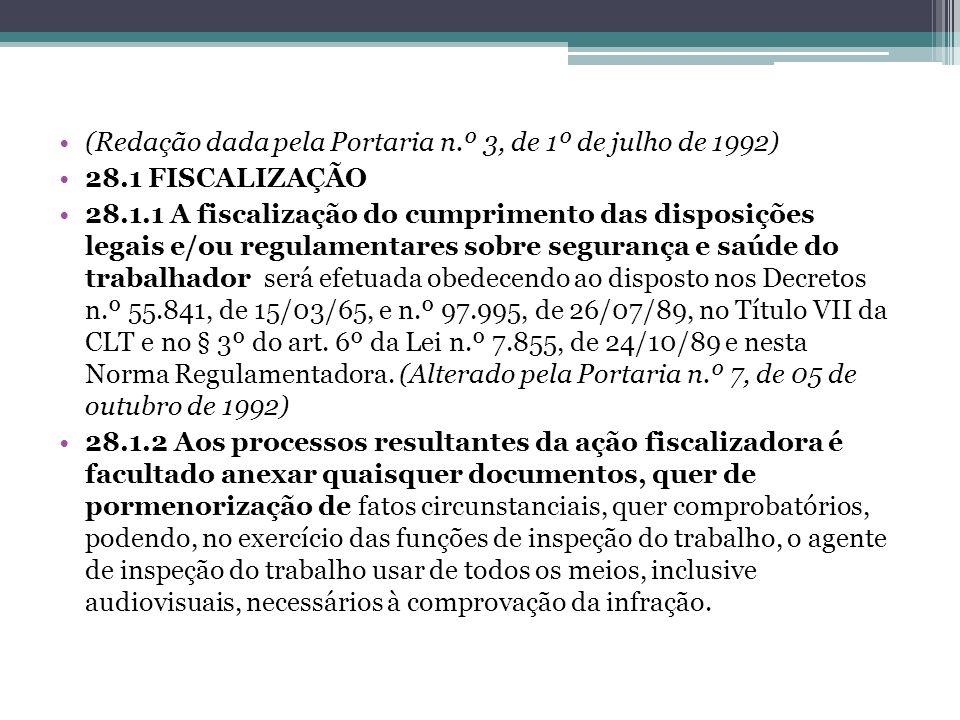 (Redação dada pela Portaria n.º 3, de 1º de julho de 1992) 28.1 FISCALIZAÇÃO 28.1.1 A fiscalização do cumprimento das disposições legais e/ou regulame