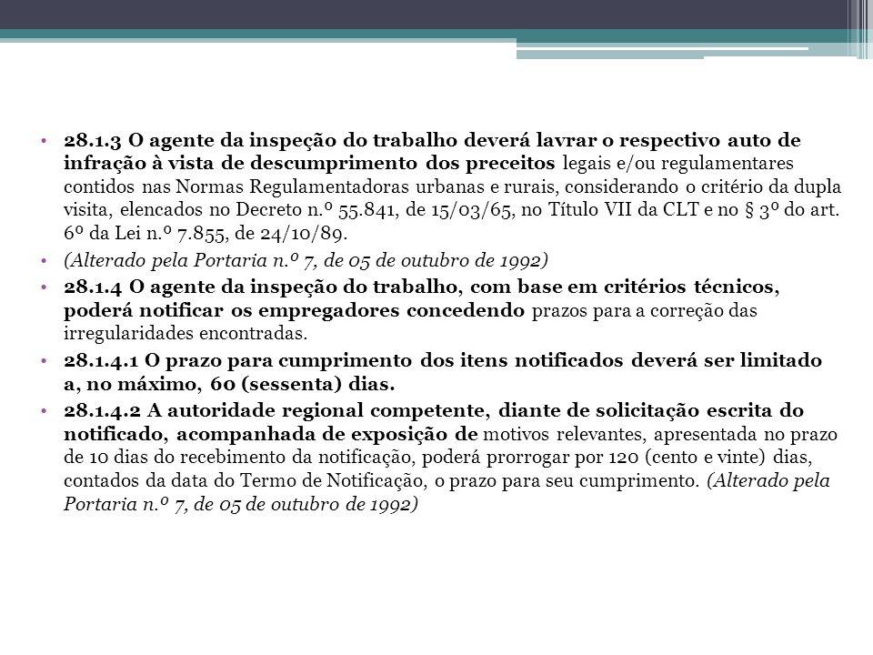 28.1.3 O agente da inspeção do trabalho deverá lavrar o respectivo auto de infração à vista de descumprimento dos preceitos legais e/ou regulamentares