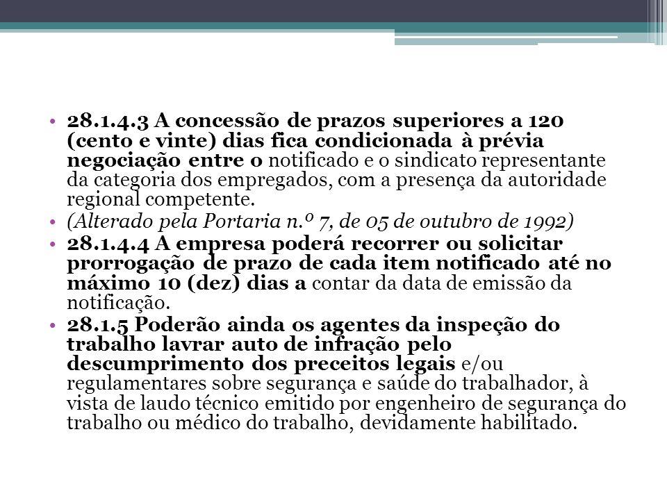 28.1.4.3 A concessão de prazos superiores a 120 (cento e vinte) dias fica condicionada à prévia negociação entre o notificado e o sindicato representa