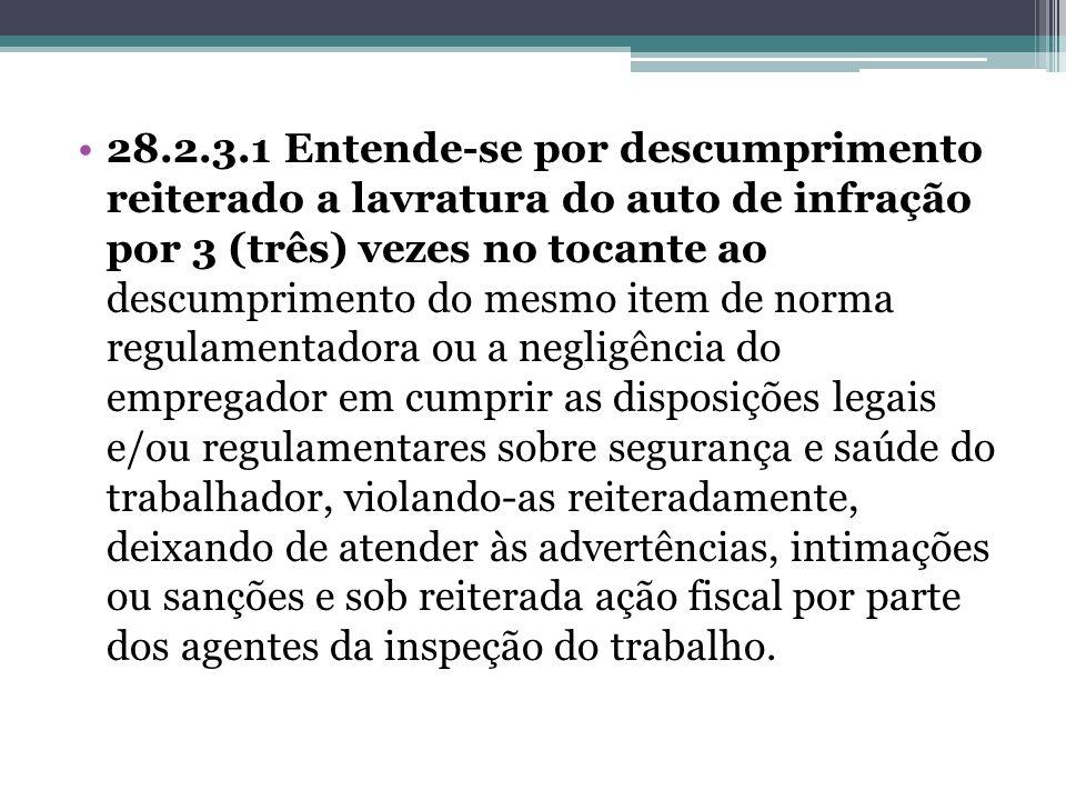 28.2.3.1 Entende-se por descumprimento reiterado a lavratura do auto de infração por 3 (três) vezes no tocante ao descumprimento do mesmo item de norm
