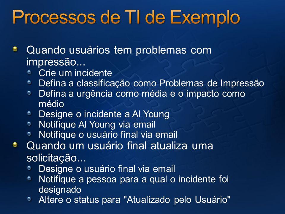 Quando usuários tem problemas com impressão... Crie um incidente Defina a classificação como Problemas de Impressão Defina a urgência como média e o i