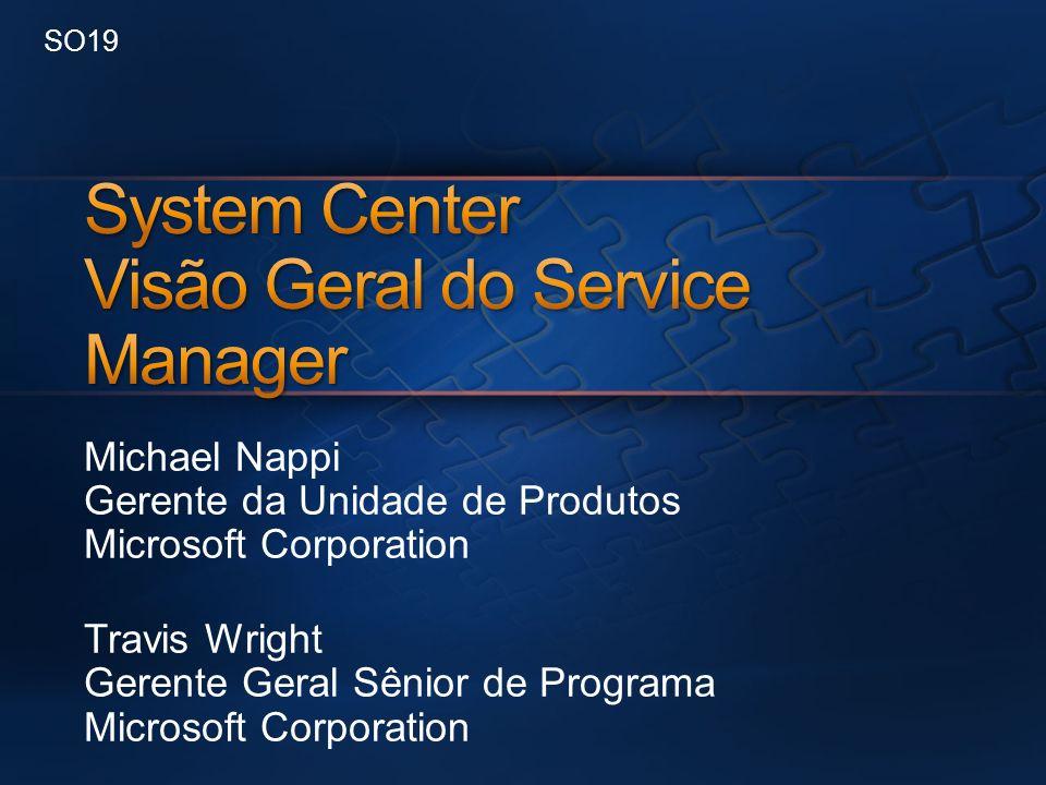 System Center e Service Manager Atualização de Projeto Visão Geral das Principais Áreas de Investimento Plataforma Soluções Demonstração de Gerenciamento de Incidentes Integração do System Center Demonstração de Integração do SCCM