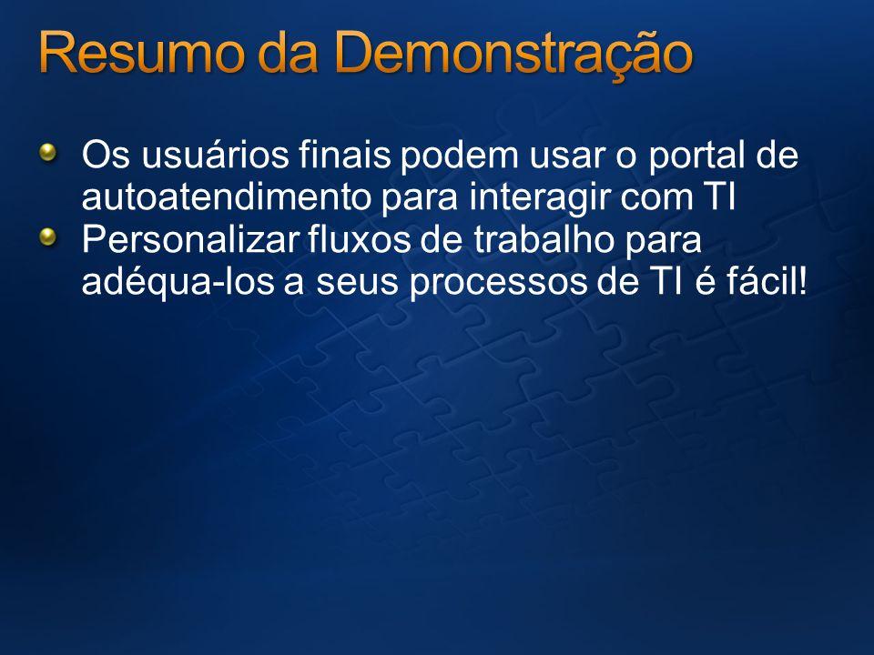 Os usuários finais podem usar o portal de autoatendimento para interagir com TI Personalizar fluxos de trabalho para adéqua-los a seus processos de TI