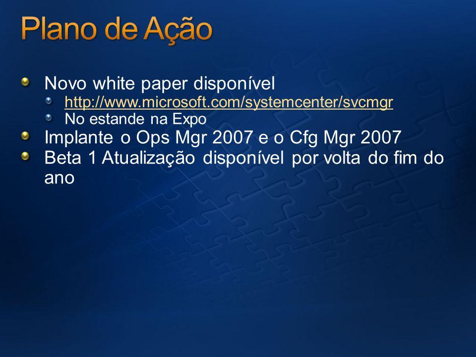 Novo white paper disponível http://www.microsoft.com/systemcenter/svcmgr No estande na Expo Implante o Ops Mgr 2007 e o Cfg Mgr 2007 Beta 1 Atualizaçã