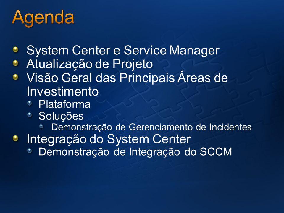 System Center e Service Manager Atualização de Projeto Visão Geral das Principais Áreas de Investimento Plataforma Soluções Demonstração de Gerenciame