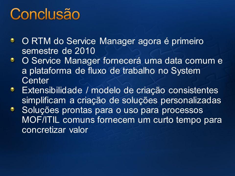 O RTM do Service Manager agora é primeiro semestre de 2010 O Service Manager fornecerá uma data comum e a plataforma de fluxo de trabalho no System Ce