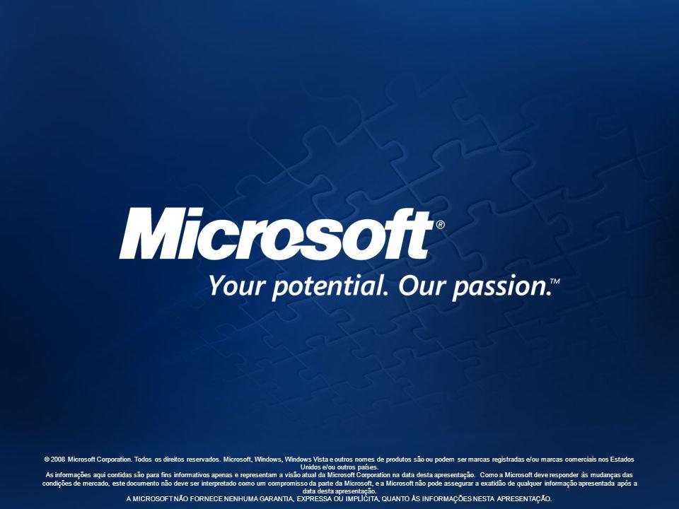© 2008 Microsoft Corporation. Todos os direitos reservados. Microsoft, Windows, Windows Vista e outros nomes de produtos são ou podem ser marcas regis