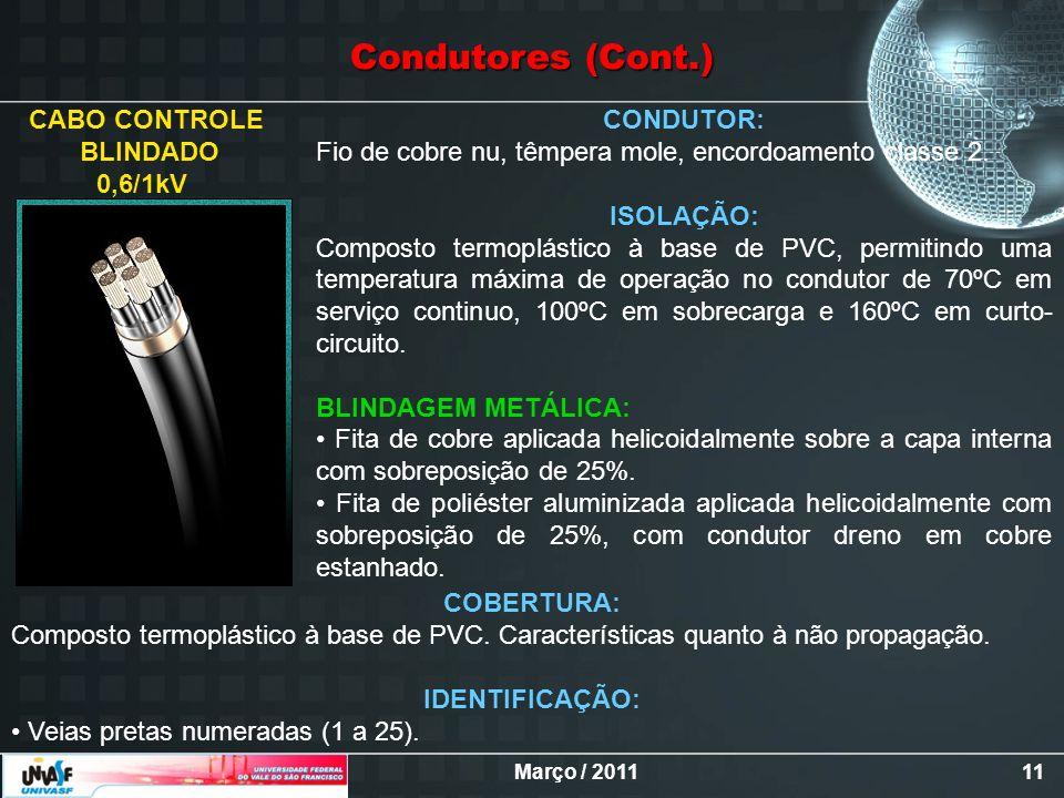 Março / 201111 CABO CONTROLE BLINDADO 0,6/1kV CONDUTOR: Fio de cobre nu, têmpera mole, encordoamento classe 2. ISOLAÇÃO: Composto termoplástico à base