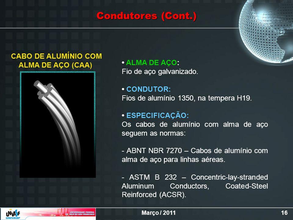 Março / 201116 CABO DE ALUMÍNIO COM ALMA DE AÇO (CAA) ALMA DE AÇO: Fio de aço galvanizado. CONDUTOR: Fios de alumínio 1350, na tempera H19. ESPECIFICA