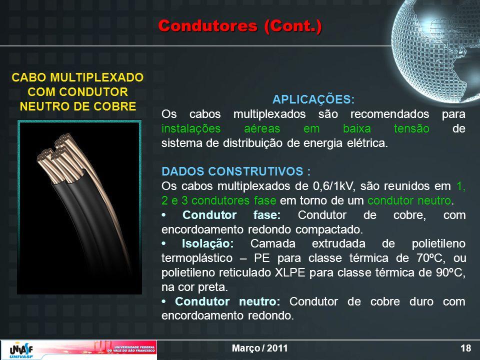 Março / 201118 CABO MULTIPLEXADO COM CONDUTOR NEUTRO DE COBRE APLICAÇÕES: Os cabos multiplexados são recomendados para instalações aéreas em baixa ten