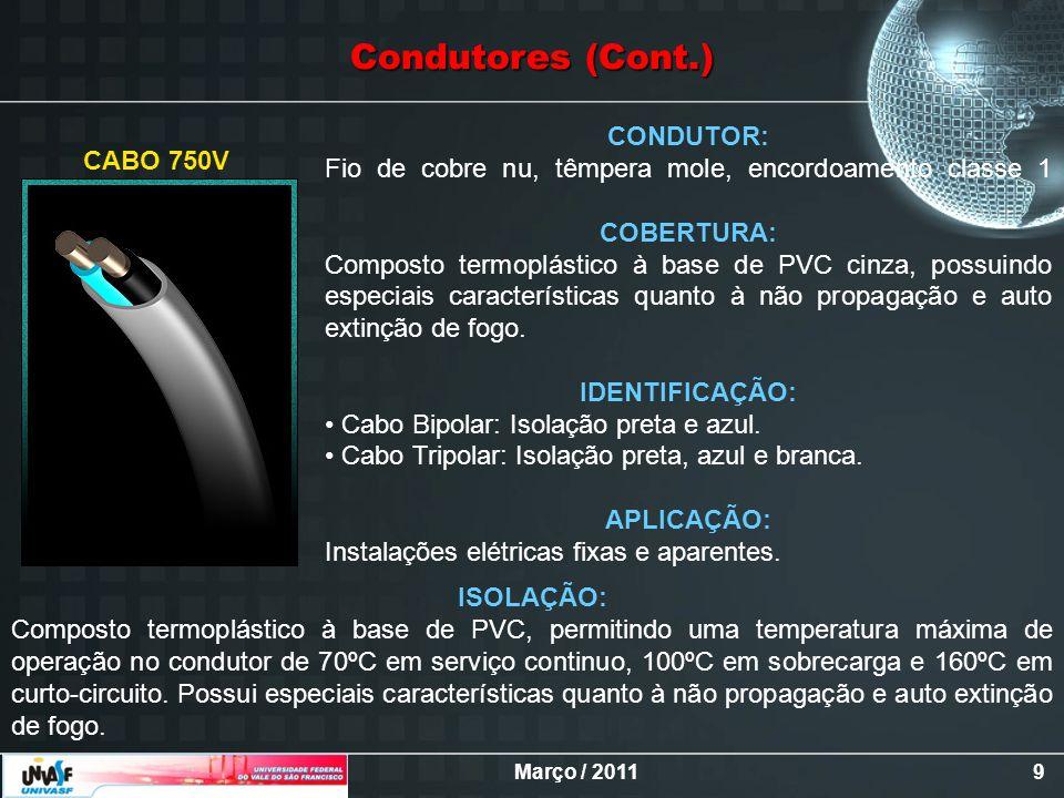 Março / 20119 CONDUTOR: Fio de cobre nu, têmpera mole, encordoamento classe 1 COBERTURA: Composto termoplástico à base de PVC cinza, possuindo especia