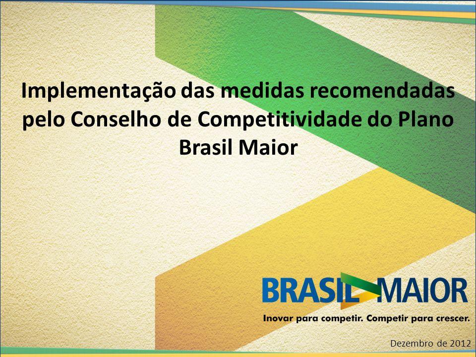 Implementação das medidas recomendadas pelo Conselho de Competitividade do Plano Brasil Maior Dezembro de 2012