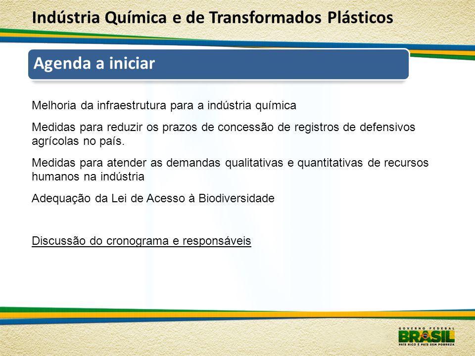 Agenda a iniciar Melhoria da infraestrutura para a indústria química Medidas para reduzir os prazos de concessão de registros de defensivos agrícolas no país.