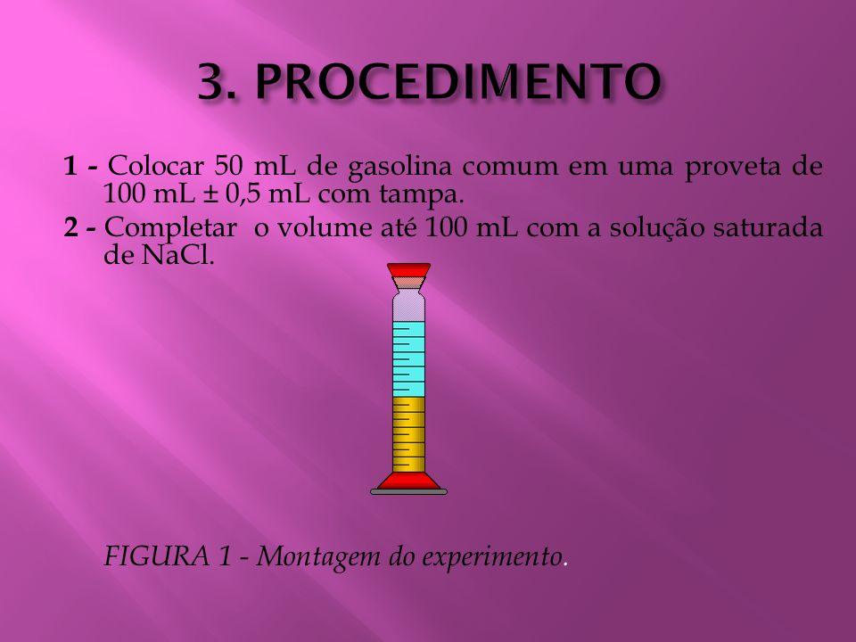 1 - Colocar 50 mL de gasolina comum em uma proveta de 100 mL ± 0,5 mL com tampa. 2 - Completar o volume até 100 mL com a solução saturada de NaCl. FIG