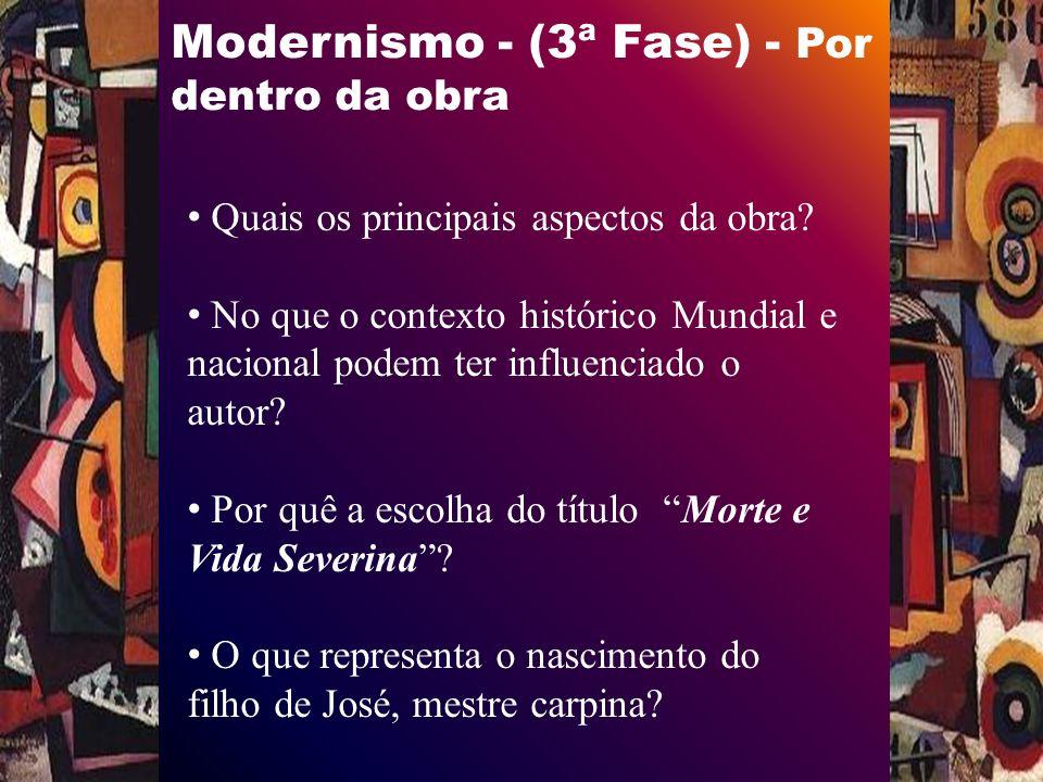 Modernismo - (3ª Fase) - Por dentro da obra Quais os principais aspectos da obra.