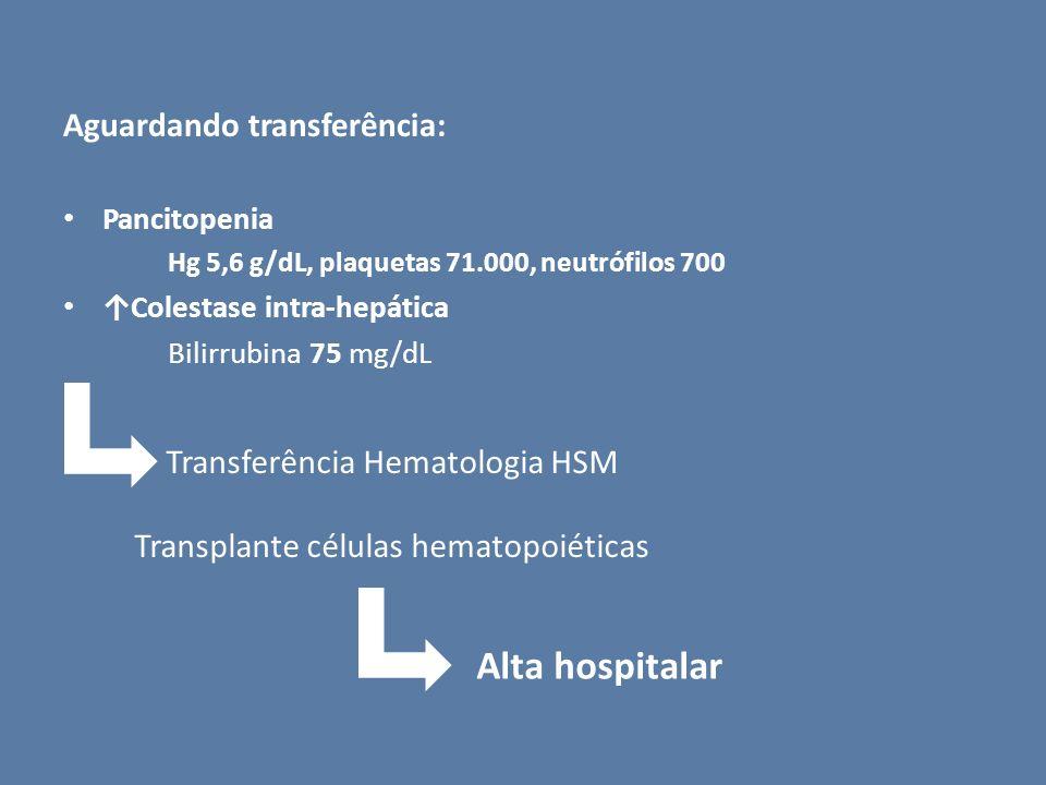 Aguardando transferência: Pancitopenia Hg 5,6 g/dL, plaquetas 71.000, neutrófilos 700 Colestase intra-hepática Bilirrubina 75 mg/dL Transferência Hema