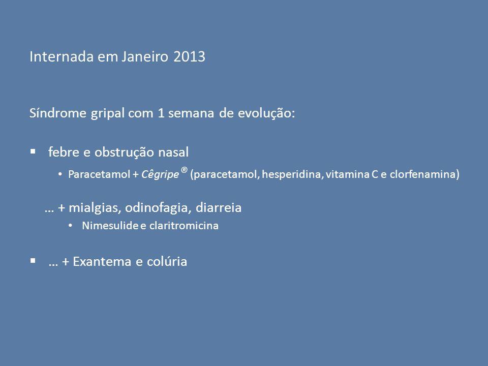 Internada em Janeiro 2013 Síndrome gripal com 1 semana de evolução: febre e obstrução nasal Paracetamol + Cêgripe ® (paracetamol, hesperidina, vitamin