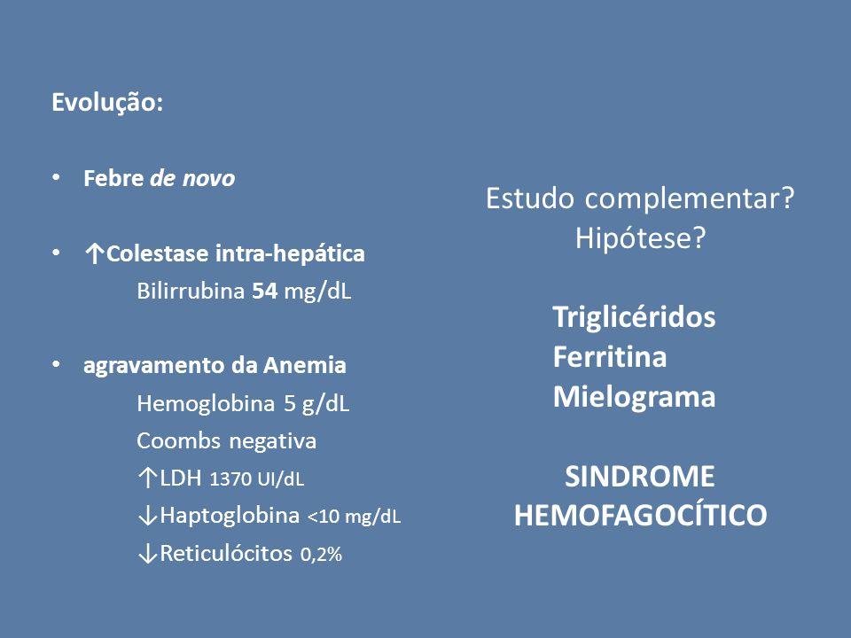 Evolução: Febre de novo Colestase intra-hepática Bilirrubina 54 mg/dL agravamento da Anemia Hemoglobina 5 g/dL Coombs negativa LDH 1370 UI/dL Haptoglo