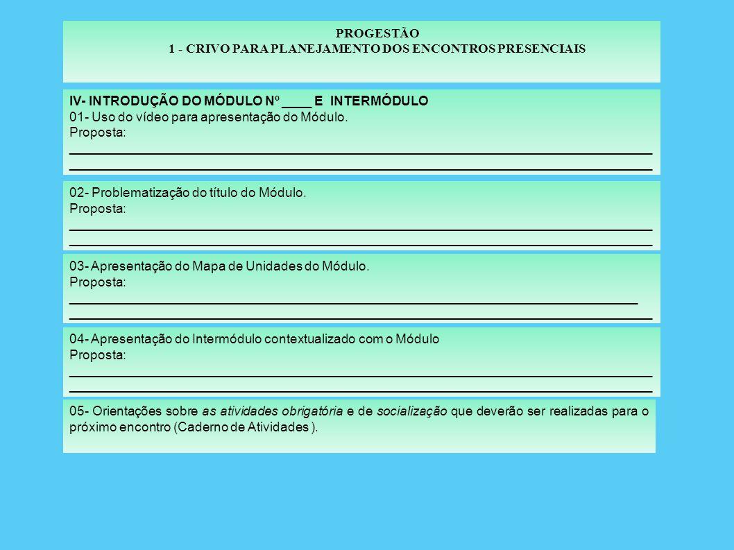 PROGESTÃO 1 - CRIVO PARA PLANEJAMENTO DOS ENCONTROS PRESENCIAIS III - FECHAMENTO DO MÓDULO e INTERMÓDULO : ( a partir do 2º Encontro Presencial ) 01- Uso do vídeo para fechamento do Módulo.